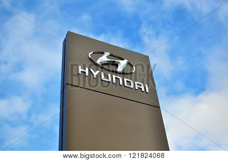 MOSCOW RUSSIA - OCTOBER 10 2015: Logotype of Hyundai corporation on October 10 2015. Hyundai is the South Korea's automotive manufacturer.