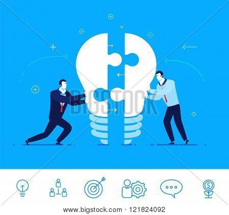 Vector business concept  illustration. Businessmen connect lamp of puzzle