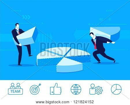 Vector business concept  illustration. two businessmen collect chart