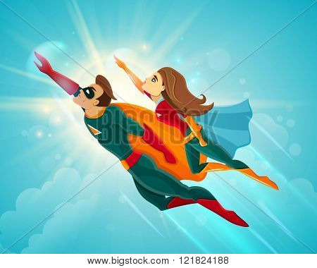 Super Heroes Couple Flying