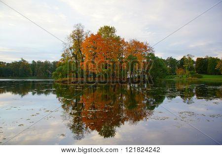 Autumn island in the Catherine Park in Tsarskoye Selo