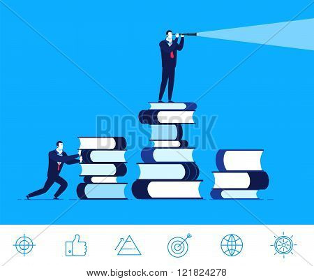 Vector business concept  illustration. Businessman standing on a  books