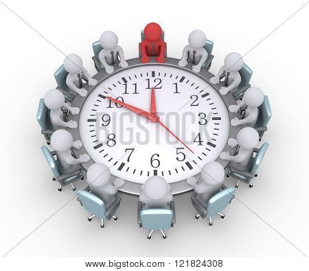 Businessmen and the leader are sitting around a clock used as table