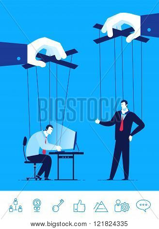 Vector business concept  illustration. Businessman and manager a puppet in the hands of others