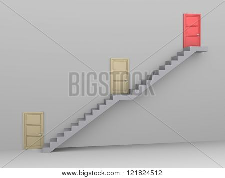 Staircase with three doors and the higher one is the best