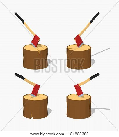 Hatchet in the stump. 3D lowpoly isometric vector illustration. The set of objects isolated against the white background and shown from different sides