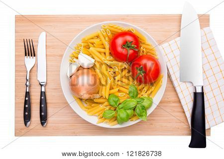 Cutting Board Mit Different Italian Ingredients
