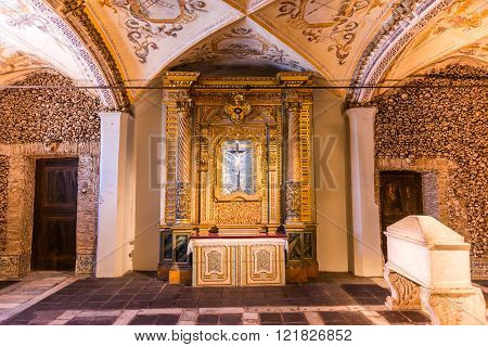 Chapel of the Bones in Evora with human bones