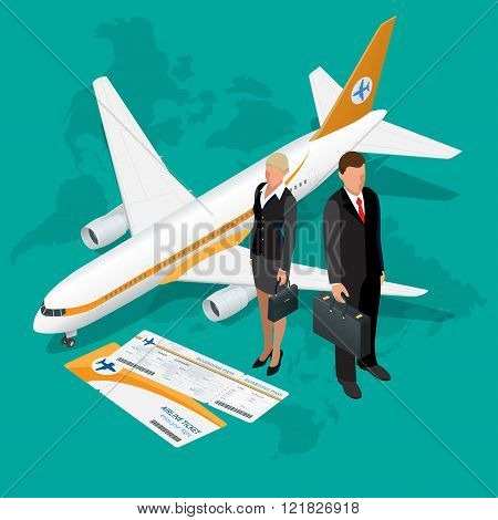 Business travel isometric composition. Travel and tourism background. Flat 3d Vector illustration. T