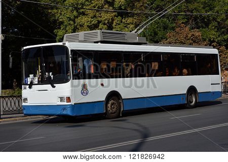 ROSTOV-ON-DON, RUSSIA - SEPTEMBER 28, 2015: Trolleybus on line 1 in an autumn day. There are 6 trolley bus lines in the city