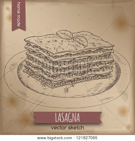 Vintage lasagna template placed on old paper background.
