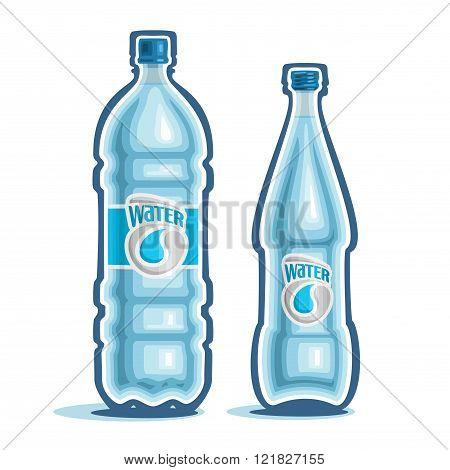 Vector illustration on the theme of the logo for bottled water, consisting of a closed plastic bottle of drinking water, and a glass bottle with pure mineral water on a white background