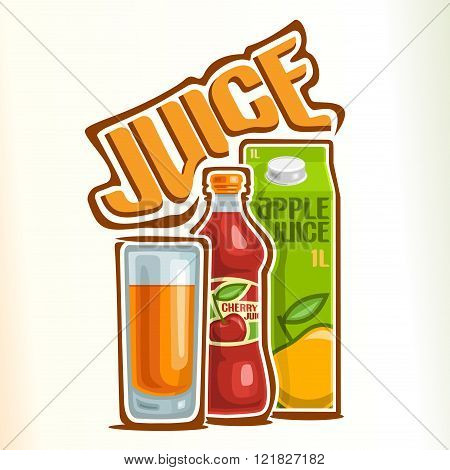 Vector illustration on the theme of the logo for juice, consisting of a glass cup filled with fruit juice, closed plastic bottle with berry juice, and a carton box juice with apple drink