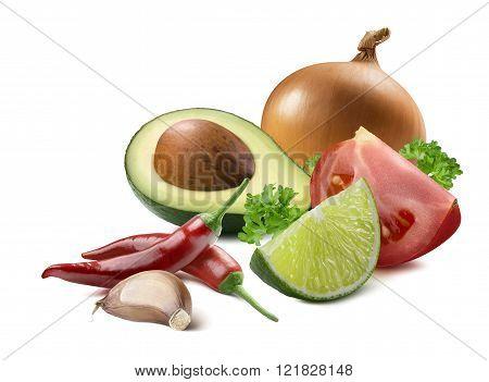 Guacamole Avocado Garlic Lime Yellow Onion Tomato Ingredients Isolated