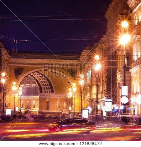 Nevsky Prospect in St. Petersburg at night illumination with blured traffic on road, Russia.