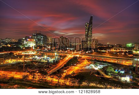 Kuala Lumpur,malaysia,january 09,2013 - Aerial View Of Telekom Malaysia Or Tm Tower At Sunset.slight