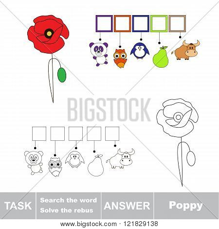 Vector rebus game. Task and answer. Solve the rebus and find the word Poppy