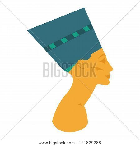 The head of the Egyptian queen. Nefertiti vector illustration. Nefertiti white background. Egyptian