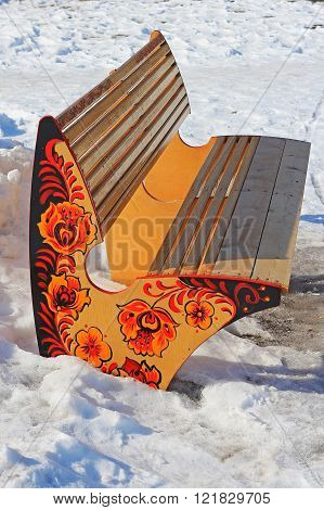 Bench In City Park Ornamented In The Russian Khokhloma Style