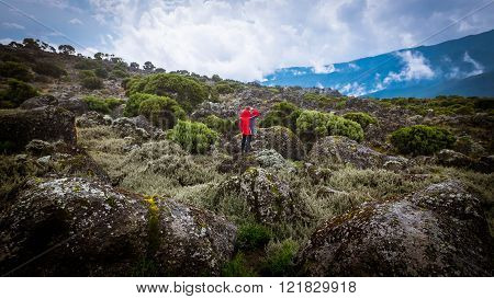 Boy in red jacket adventure extreme vacation