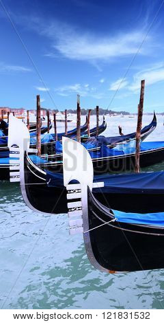 Rrostrums of gondolas in Venice, Italy