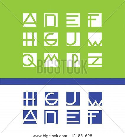 Simple Flat Letter Set Alphabet Logo Icon