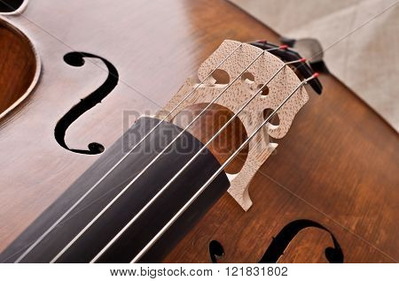 Close Up Of A Violoncello Isolated On Beige Background