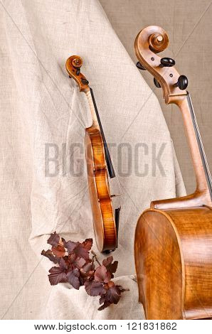 Isolated Violin And Cello On Beige Background