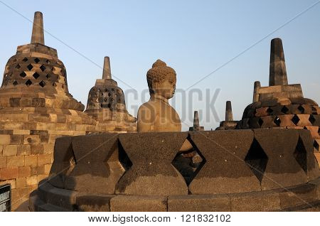 The Buddah in Borobudur Temple in Indonesia