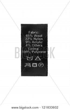 Fabric composition and washing instructions black label on white background