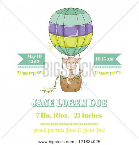 Baby Shower or Arrival Card - with Baby Giraffe - in vector