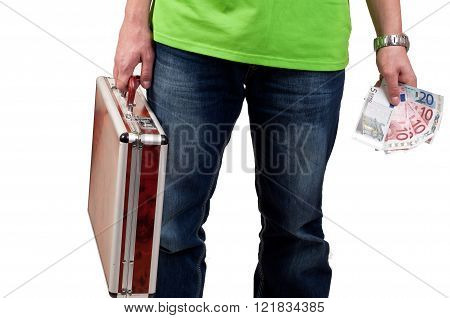 man holding a briefcase and money. business concept