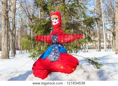SAMARA RUSSIA - MARCH 13 2016: Shrovetide in Russia. Big doll for the burning. Maslenitsa or Pancake Week is the Slavic Holiday