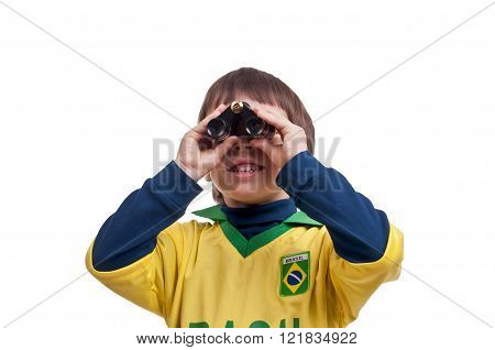 Portrait of a boy with binoculars over white background