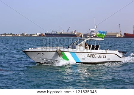 GULF OF ADEN, REPUBLIC OF DJIBOUTI  FEBRUARY 08, 2016: Djiboutian Coast Guards patrol in the port harbor