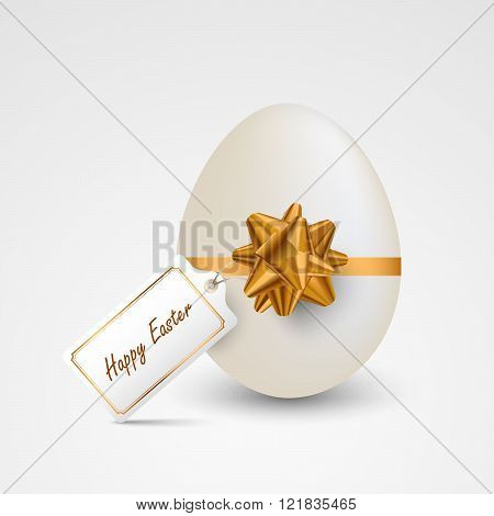 Easter Card With Egg Ribbon And Tag Template