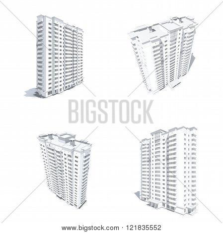 Multi-storey building monochrome render
