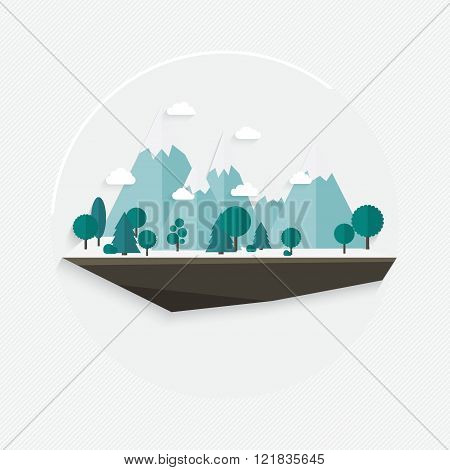 Flat Design Nature Landscape Illustration, Vector Mountain