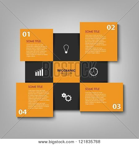 Info Graphic With Orange And Black Squares Template