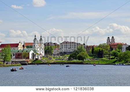 MINSK BELARUS - MAY 1: Panorama of Minsk city center on May 1 2014. Minsk is a capital and largest city of Republic of Belarus.