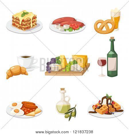 Set of fresh morning food. European breakfast cartoon vector illustration.
