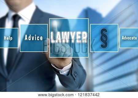 Lawyer Touchscreen Is Operated By Businessman
