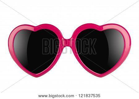 A pair of pink heart shaped sun glasses with black lenses isolated on white background