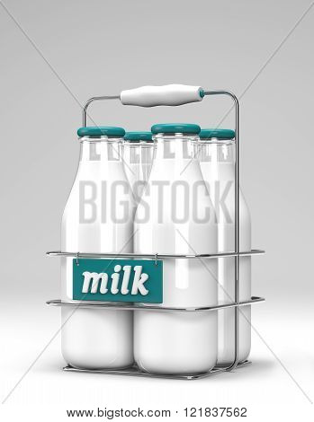 Four glass bottles of milk with light blue caps in a metal carrying case with holder and word milk written on the front on white background.
