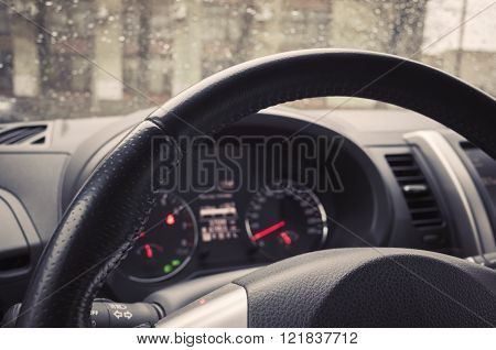 Steering Wheel And Control Panel Of Modern Car