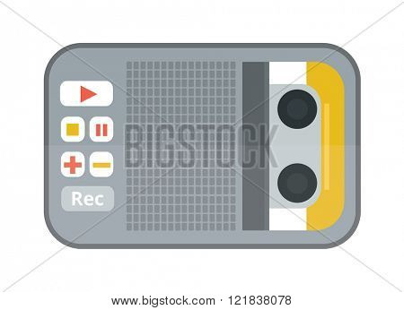 Tape recorder or dictaphone flat icon isolated on white background vector illustration.