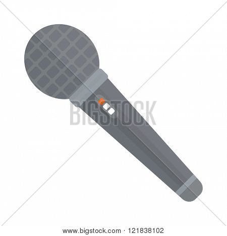 TV news or event microphone with blank box isolated on a white background flat vector illustration