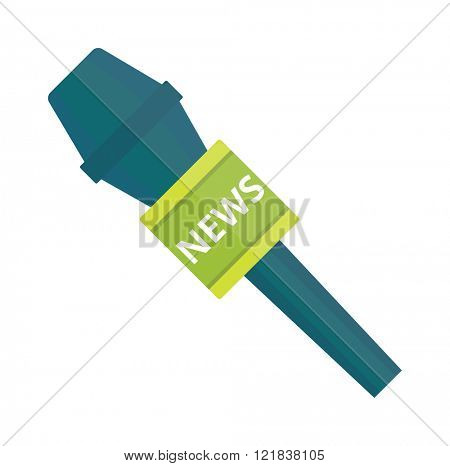 TV news microphone with blank box isolated on a white background flat vector illustration.