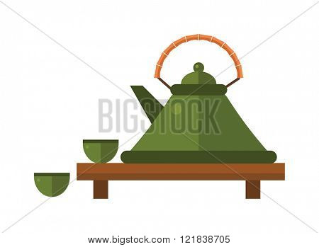 Chinese tea vector symbols. Traditional eastern teapot and teacups on white background.