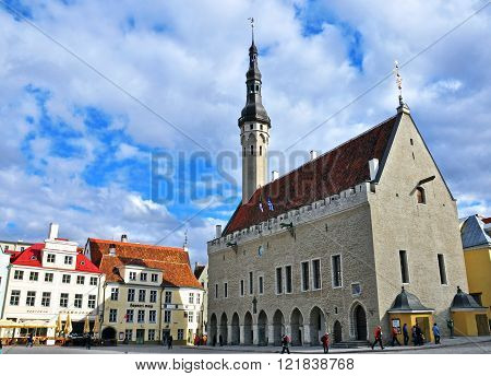 TALLINN ESTONIA - APRIL 30: Main square of Tallinn historical centre on April 30 2013. Tallinn is a capital and the largest city of Estonia.